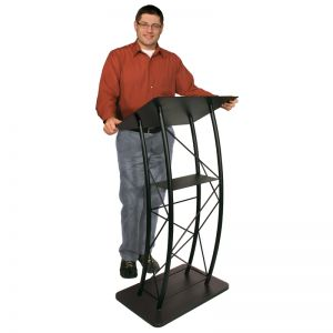 Black Curved Metal Lectern