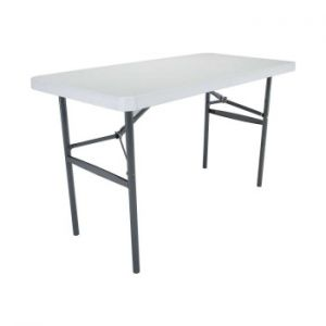 4 Foot White Adjustable Folding Table