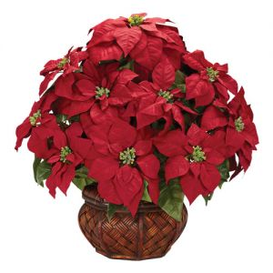 Silk Poinsettia with Decorative Planter