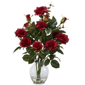 Rose Bush W/ Vase Silk Flower Arrangement - Red