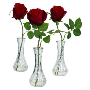 Roses W/ Bud Vase Silk Arrangement (Set of 3)