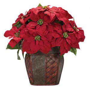 Silk Poinsettia with Decorative Vase