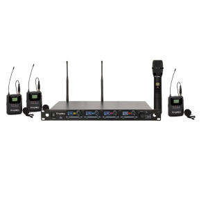 Kingdom V5 Wireless Mic System with 1 Handheld, 3 Beltpacks with Lapels