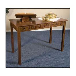 Maple Communion Table With Walnut Stain