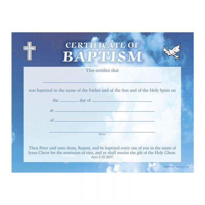 Baptism Certificate Pack Of 6 Acts 238