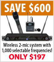 PendoMax 2 Mic Wireless 1000 frequency systems just $197