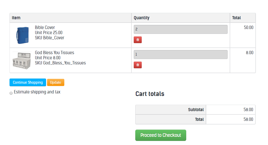 Sample Cart View on Business Website