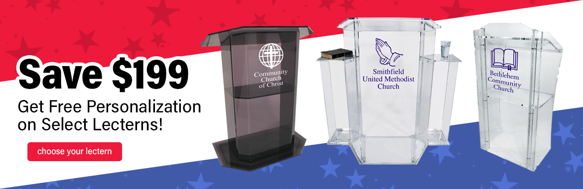 Free Personalization on these Acrylic Lecterns