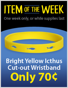 Bright Yellow Icthus Cut-Out Wristband