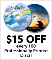 $15 off every 100 Professionally Printed Discs