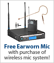 Free Earworn Mic with purchase of this Lapel Wireless System